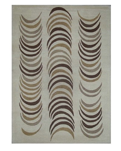 Mili Designs NYC Feather Patterned Rug, Cream/Multi, 5' x 8'