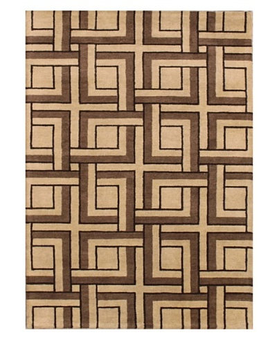 Mili Designs NYC Maze Patterned Rug, Tan/Multi, 5' x 8'