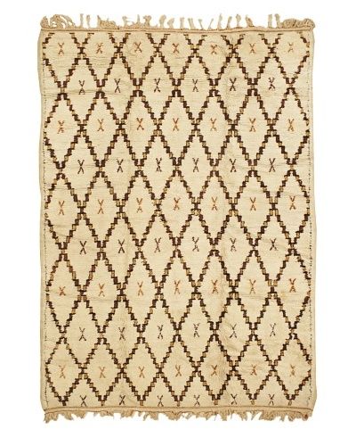 Mili Designs NYC Moroccan Beni Ourain, Cream/Orange/Brown, 5' 8 x 8' 2