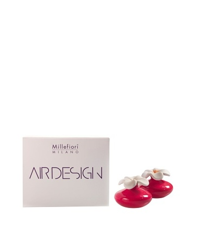 Millefiori Milano Set of 2 Mini Porcelain Flower Diffusers, Red