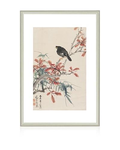 Mind Art Small Bird on Red Maple