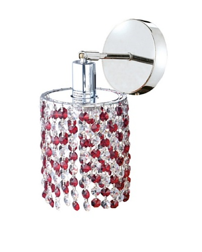 Mini Crystal Collection Round Wall Sconce, Bordeaux