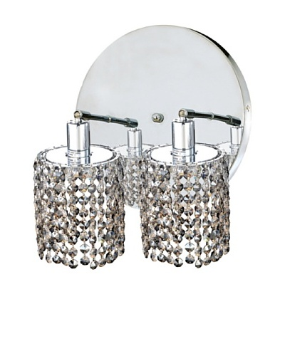 Mini Crystal Collection 2-Round Wall Sconce, Golden Teak