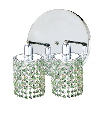 Mini Crystal Collection 2-Round Wall Sconce, Light Peridot
