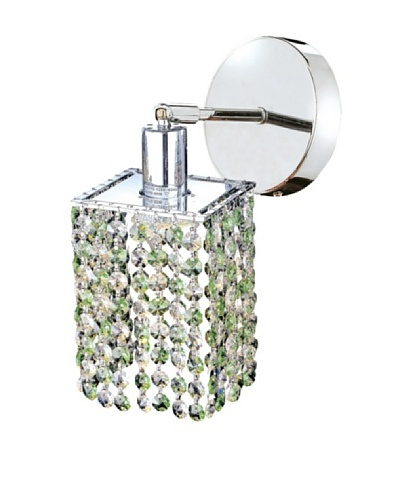 Mini Crystal Collection Square Wall Sconce, Light Peridot