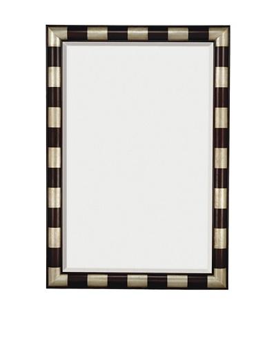 Majestic Mirrors Striped Mirror, Silver/Mahogany, 79 x 55