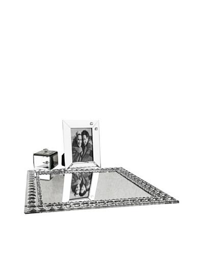 Allure Vanessa Clear Jewel Accent Mirror Vanity Set, Clear
