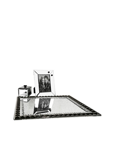 Allure Vanessa Clear Jewel Accent Mirror Vanity Set, Black