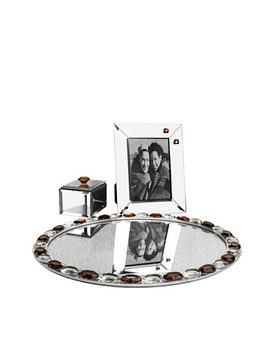 Allure Alinea Clear Jewel Accent Oval Mirror Vanity Set, Amber