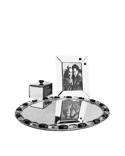 Allure Alinea Clear Jewel Accent Oval Mirror Vanity Set, Black