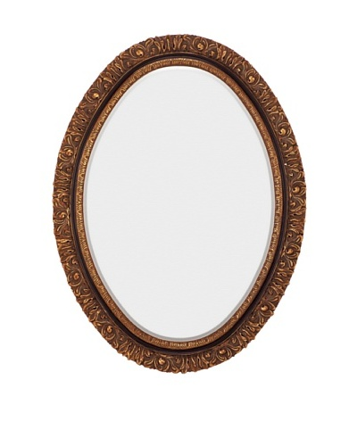 Majestic Mirrors Beveled Mirror, Antique Gold/Black, 48 x 36