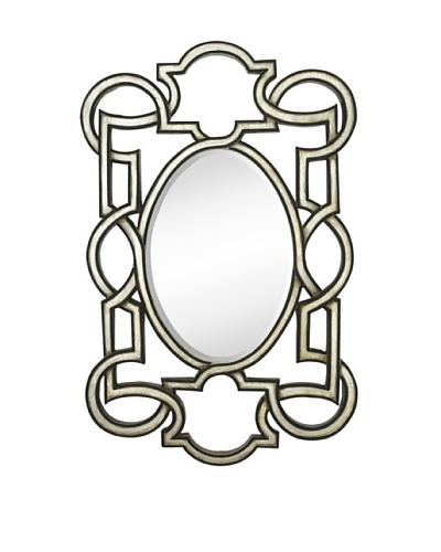 Majestic Mirrors Deco Mirror, Antique Silver/Black, 56 x 36