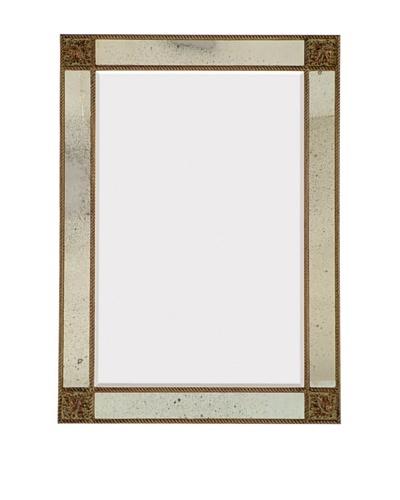 Majestic Mirrors Antique Paneled Mirror, Bronze, 44 x 32