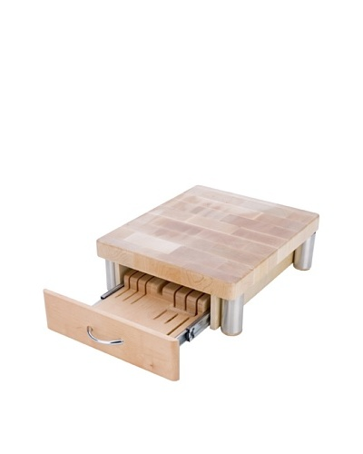 MIU France Maple Cutting Board with 7-Slot Knife Drawer