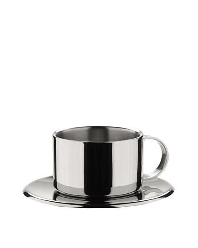MIU France  Set of 4 Stainless Steel Espresso Cups and Saucers