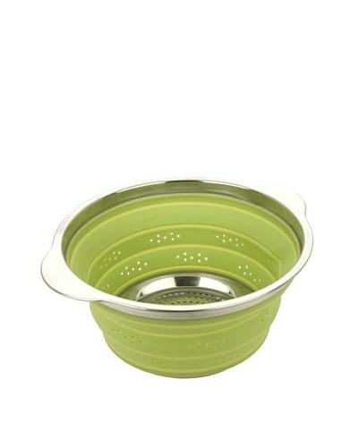 MIU France Collapsible Silicone Colander with Stainless Steel Rim