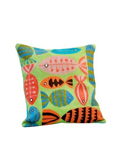 Modelli Creations Fish Crewel Work Pillow, Green