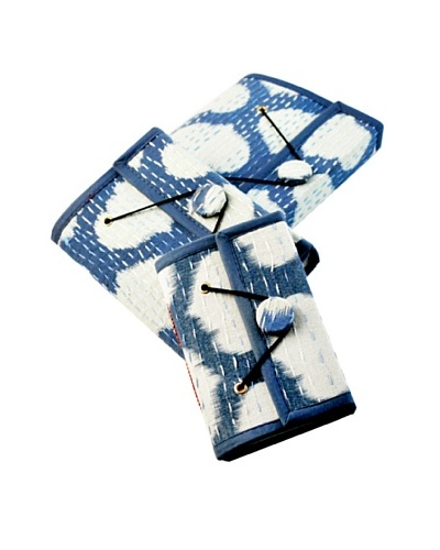 Modelli Creations Set of 3 Ikat Print Knit Journals, Blue