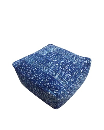 Modelli Creations Natural Fiber Square Dhurrie Pouf, Blue