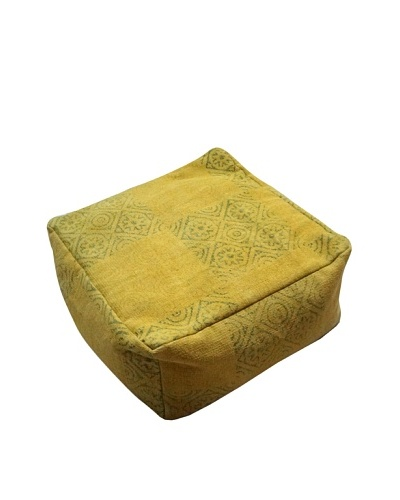 Modelli Creations Natural Fiber Square Dhurrie Pouf, Yellow
