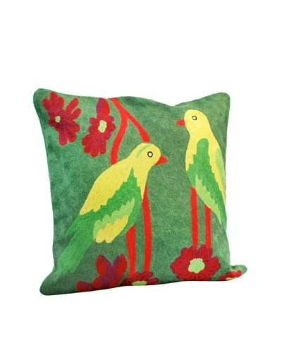 Modelli Creations Yellow Bird Crewel Work Pillow, Green