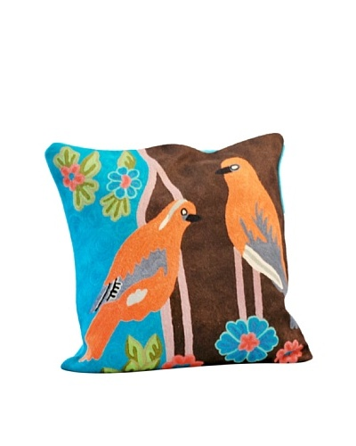 Modelli Creations Brown Bird Crewel Work Pillow, Brown