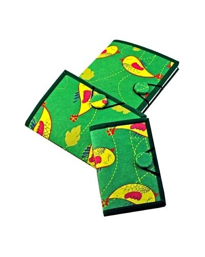 Modelli Creations Set of 3 Bird Journals, Green