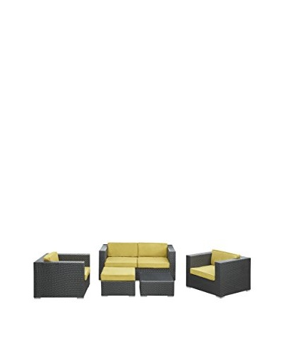 Modway Malibu 5-Piece Outdoor Patio Sofa Set, Espresso/Peridot