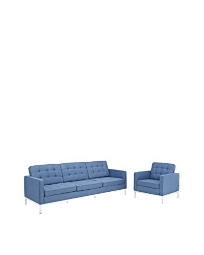 Modway Loft Armchair & Sofa Set, Blue Tweed