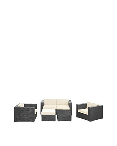 Modway Malibu 5-Piece Outdoor Patio Sofa Set, Espresso/White