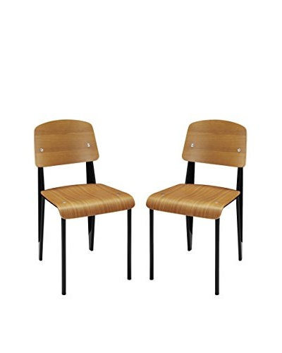 Modway Set of 2 Cabin Dining Side Chairs, Walnut