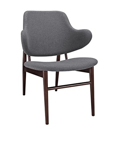 Modway Cherish Wood Lounge Chair, Dark Grey