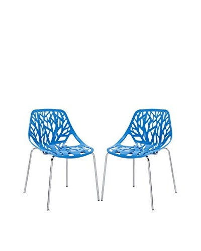 Modway Set of 2 Stencil Dining Side Chairs, Blue