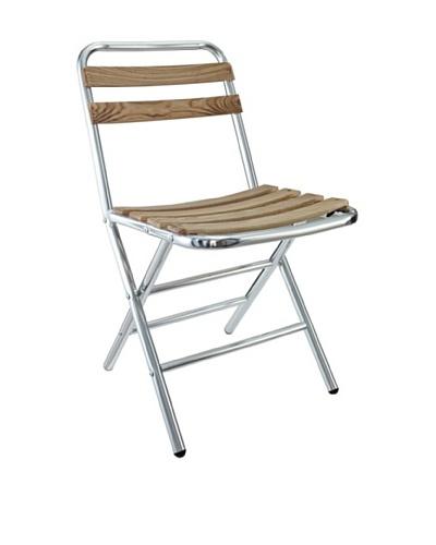 Modway Folderia Aluminum Folding Chair, Silver