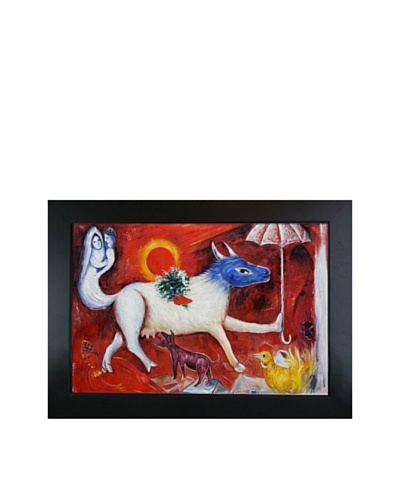 """Marc Chagall The Cow with Parasol Framed Oil Painting, 24"""" x 36"""""""