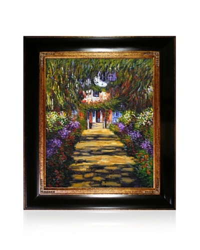 Claude Monet Garden Path at Giverny Framed Oil Painting, 20 x 24