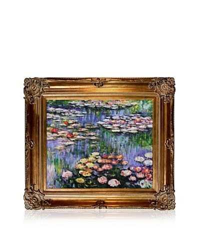 Claude Monet Water Lilies (pink) Framed Oil Painting, 20 x 24