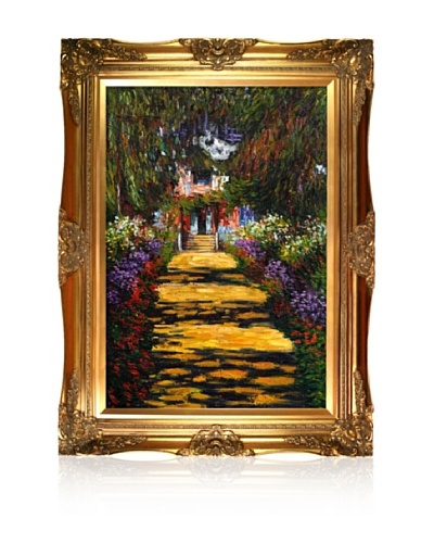Claude Monet Garden Path at Giverny Framed Oil Painting,  24 x 36