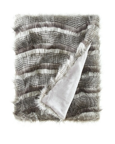 Montague & Capulet Faux Siberian Throw, Grey