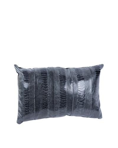 Moo-Moo Designs Ostrich Sheen Pillow, Grey, Black, 12 x 16