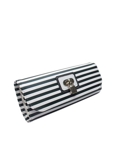 Morelle & Co. Classic Striped Travel Accessories Case with Lock and Key, Navy