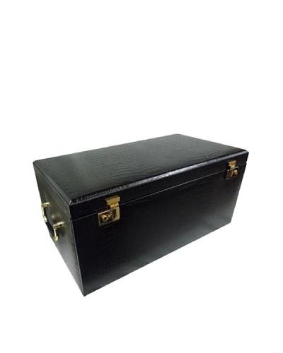 Morelle & Co. Elizabeth Large Leather Illuminated Jewelry Box, Black