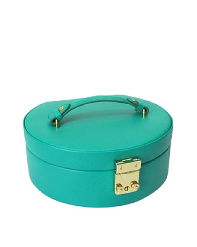 Morelle & Co. Leather Half Moon Lock & Key Jewelry Box with Takeout Compartment, EmeraldAs You See