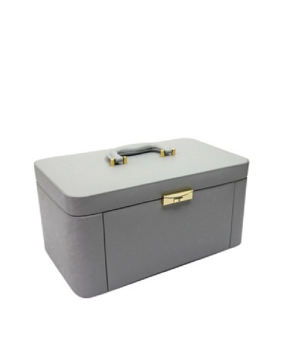 Morelle & Co. Alexis Leather Large Two Side Pullout Jewelry Box, Paloma Grey