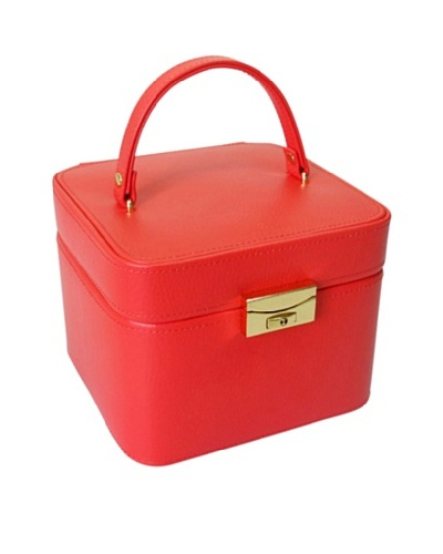 Morelle & Co. Petite Jackie O Lock & Key Jewelry Box with Takeout Compartment, Poppy Red