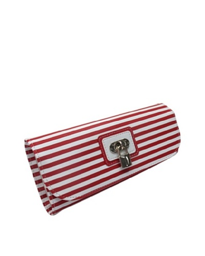 Morelle & Co. Classic Striped Travel Accessories Case with Lock and Key, RedAs You See