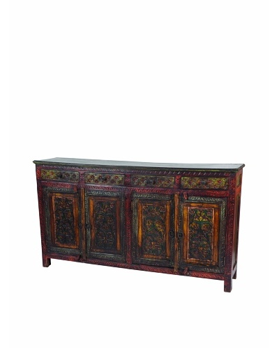 MOTI Historic Footed 4-Carved & Door 4-Drawer Buffet