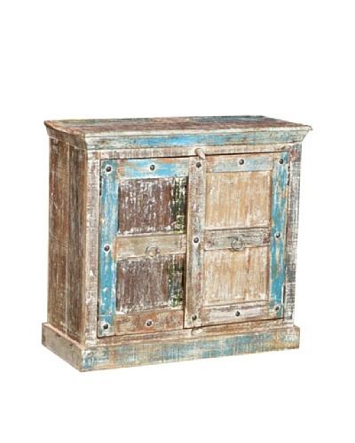 Moti Mezzanine 2-Door Buffet Reclaimed Wood, White/Multi