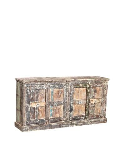Moti Mezzanine 4-Door Buffet Reclaimed Wood, Grey/Multi