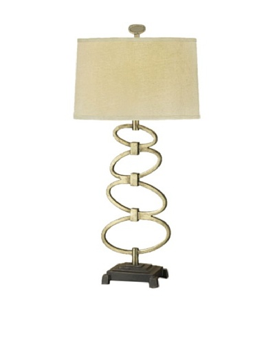 Feiss Lighting Geo Collection Table Lamp, Burnished Silver/Putty